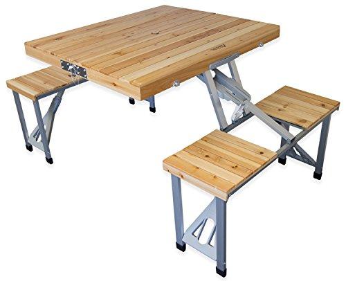 Andes Camping-Möbelset aus Picknick-Tisch und Bänken - faltbar - transportabel - Holz