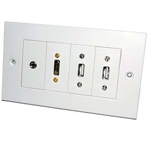 Fertig Gemacht Doppelt USB HDMI & 3,5 mm Stereo Klinkenstecker Zweifach Fach AV Unterputzdose