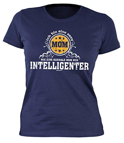 Muttertag Girlie-Shirt ::: MOM nur intelligenter ::: Shirt für Mama Navyblau