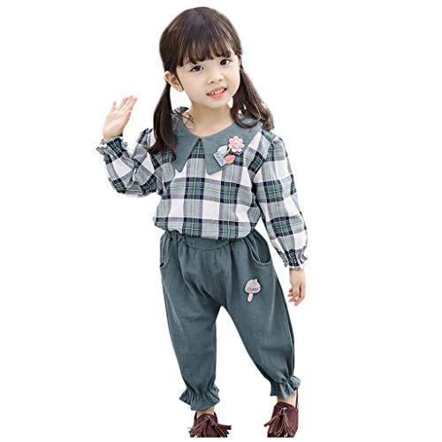 Proumy 2pcs Baby Kleidung Set Neugeborenen Baby Mädchen Quadratisches Gitter Langarm Ärmel Kleidung Top+ einfarbiger Lange Hosen Outfit Set (Grün,Recommended Age:6-12 Months) -