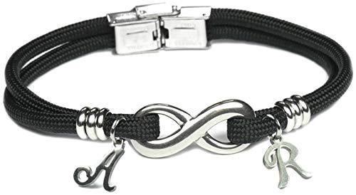 Lufetti Armband Unendlichkeit Infinity Edelstahl Name Buchstabe Nylon (mit 2 Buchstaben) (Edelstahl-infinity-armband)