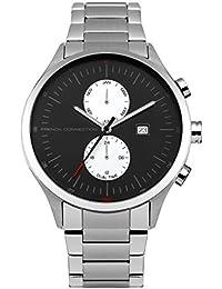 French Connection FC1266BSM - Reloj de cuarzo para hombre con esfera negra y correa plateada de acero inoxidable