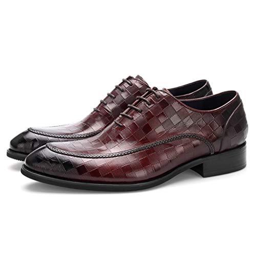Herren Spitz Business Schuhe Formal Dress Oxford Schuhe Casual Plaid Geprägte Schnürschuhe Handmade Echtes Leder Wohnungen,Rot,38 -