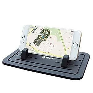 Ipow Nouveau Silicone Tapis Support Téléphone dessous de support sur bureau de travail plat pour Iphone 6s/6/5s/5/4 Samsung s5/s4/s3 , Noir