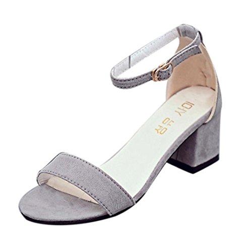 Sannysis Frauen Single Band Chunky Heel Sandale mit Knöchelriemen Sommer Sandalen Schuhe Damen Sandalen Flach Schuhe mit Strass Flip Flops Römer Damen Sommer (39, Grau) (Flache Leder Knie Boot)