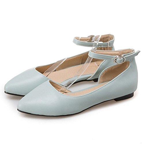 TAOFFEN Femme Decontracte DOrsay Sangle De Cheville Ballet Chaussures Boucle Sandales Bleu