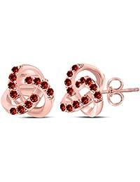 bc1e419a67e1 GemsandJewels - Pendientes de tuerca de plata de ley 925 chapados en oro  rosa de 14 quilates con diseño de nudo…
