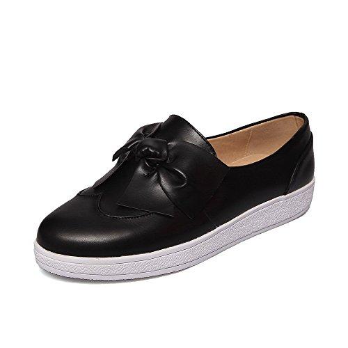 AgooLar Femme à Talon Bas Couleur Unie Tire Matière Mélangee Rond Chaussures Légeres Noir