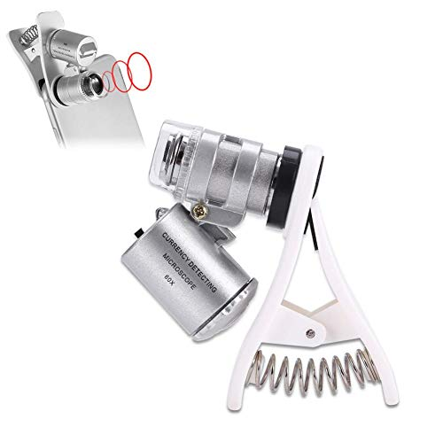 Pocket Lupe Glas, 60 Mal tragbare Handy Clip-on-Mikroskop mit LED Banknote Verifikation Licht und Jade Schmuck Identifikation, temporäre Tattoo Zubehör (Silber)<br/>