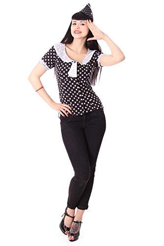 SugarShock Soraya 50er retro vintage Polka Dots Kragen Rockabilly Bluse -