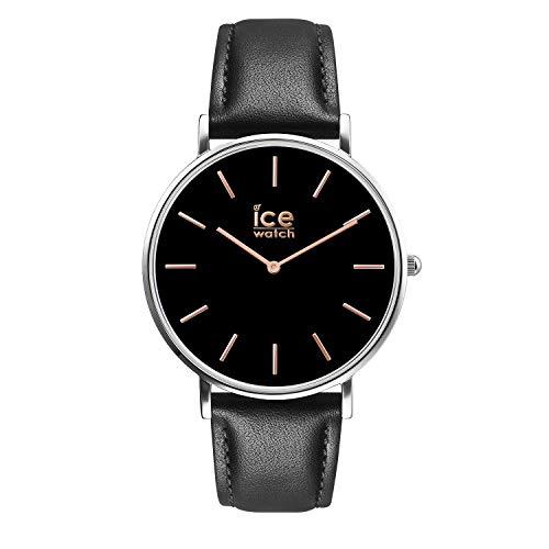 Ice-Watch - City Classic Black Rose-gold - Schwarze Herrenuhr mit Lederarmband - 016227 (Medium) (Black Rose Gold Uhren Für Männer)