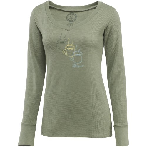 Life is Good Damen Thermal Long Sleeve Tee XXL moos (Sleeve Tee Thermal Long)