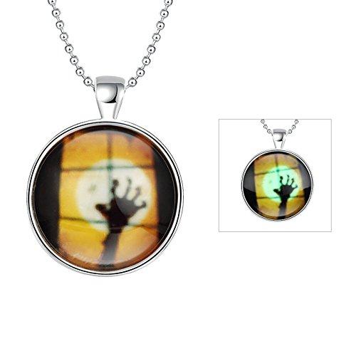Anyeda Schmuck Halskette,Damen Vergoldet Hypoallergen Halloween Ghost Hand Anhänger für Frauen Grünes Licht Größe 60X3.2X4.1Cm
