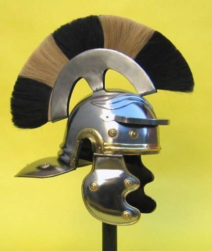 nauticalmart Mittelalter Roman Centurion Helm Armor SCA W/Plume Gladiator Kostüm Trojan Fußball Full-Size Metall Replica Centurian CRESTED Beamte schwarz