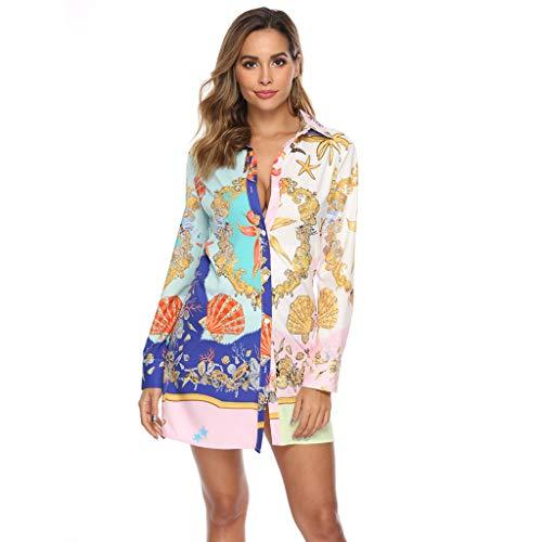 Markthym Frauen Langarm Print Shirt Button Kleid Damen Casual Mini Kleid Damen Langarm Print Shirt Kleid Freizeitkleidung - Patriotische Damen-lange Hülse