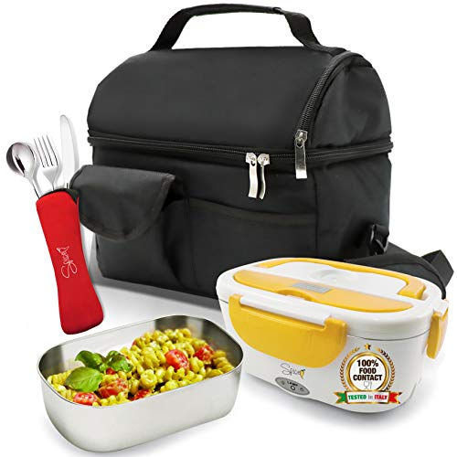Spice - Set de bolsa térmica con correa + calentador de alimentos amarillo inoxidable + juego de 3 cubiertos de acero inoxidable