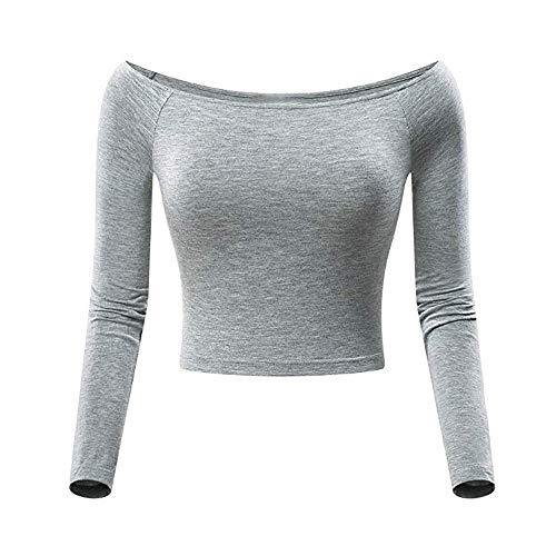 MYMYG Damen Crop Tops Off-Shoulder Slash Neck für Frauen Solides langärmliges Top ausgestattetes Hemd Navel-Bluse O-Ausschnitt Pullover Damenbluse Langarmshirt