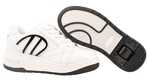 Elara Damen Herren Kinder Rollschuhe Sportschuhe Schuhe mit Rollen Laufschuhe Runners Sneakers TY-147-White-32