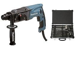 Makita HR 2470 SDS-Plus-Bohrhammer + Bohrer/Meissel-Set 17 Stück, D-42444