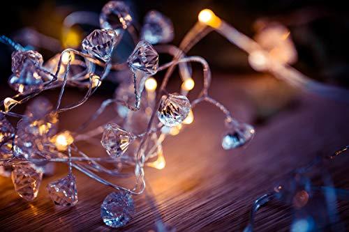 DARO DEKO Lichterkette Diamanten 40 LED warm weiß