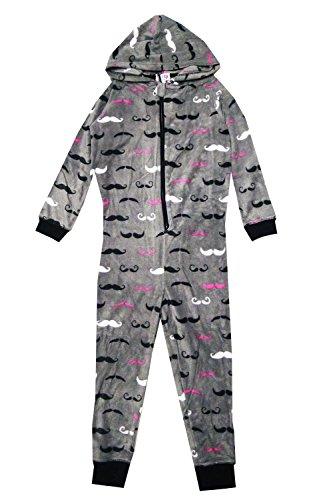 Nifty Kids Girls Onesie Moustache Print All In One Piece Sleepsuit Pyjamas Onesie