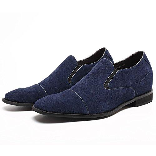 CHAMARIPA Chaussures rehaussantes de Suede mocassins Tuxedo - grandir de 7 cm Bleu