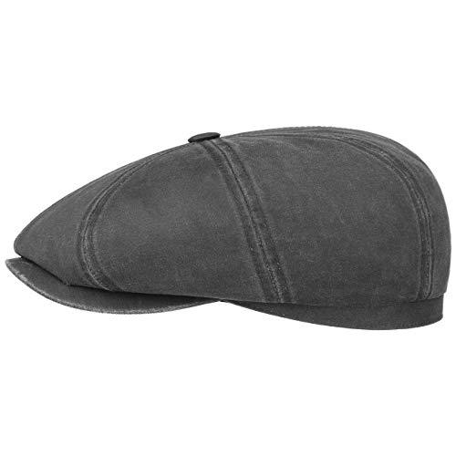 Stetson Hatteras Old Cotton Schildmütze Damen/Herren | Oilskinmütze Balloncap Newsboy Cap mit Schirm, Schirm Frühling-Sommer Herbst-Winter | M (56-57 cm) schwarz -