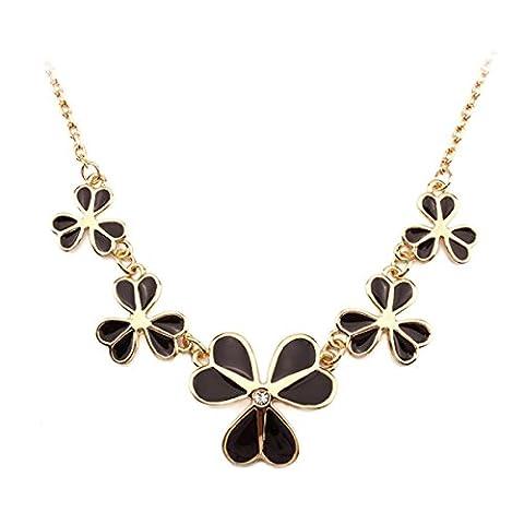 Frauen-Damen-schwarze Blumen-hängende Aussage-Legierungs-Halsketten-Länge 40cm + 5cm Verlängerte Kette