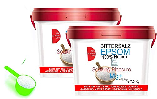 ORGANISCHER Bittersalz ● Epsom Salz Baden Soaking Pleasure ● Apothekenqualität für Ihre Gesundheit Badesalz Magnesiumsulfat Epsom Salt Food grade Magnesium pure (15 kg)