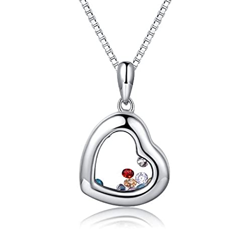 JiangXin Floating Charms Locket Pendant Necklace Blue Yellow White Red Colorful Crystals 925 Sterling Silver Heart Jewellery