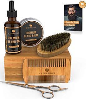 Kit de cuidado de barba Naturenics para hombres con brocha para barba,