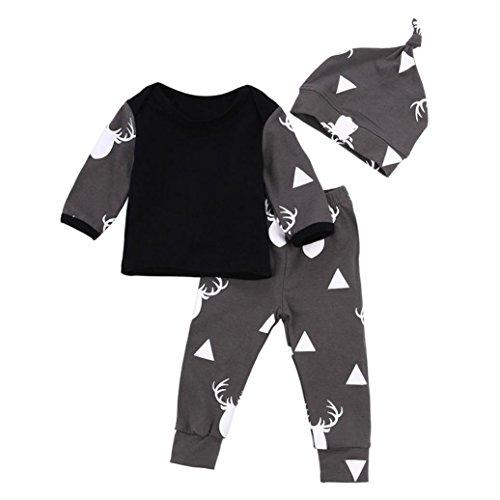 Winwintom El algodón recién nacido lindo del muchacho del bebé arropa los ciervos Tops T-shirt + Pantalones Leggings Conjunto de 3 piezas