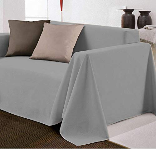 Biancheria Store Funda de sofá de Tela Decorativa de Color Liso en...