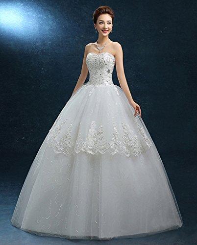 Eyekepper Robe mariee en dentelle - Robe nuptiale robes de mariage - Taille est possible de faire sur mesure Blanc