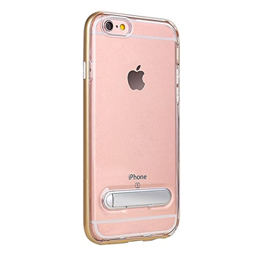 IPhone 6 u. 6s Fall TPU + PC transparenter kombinierter rückseitiger Abdeckungs-Fall mit magnetischem Halter für iPhone 6 u. 6s Fall by diebelleu ( Color : Silver ) Gold
