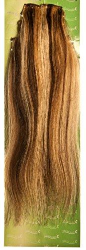Dream Hair Lot de 8 extensions à clipser en cheveux naturels lisses Longueur 56 cm Blond/brun méché