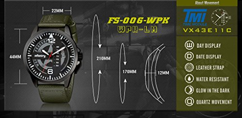 INFANTRY® Herren Analoges Quarzwerk Armbanduhr Outdoor Sport Analog Nachrich Army Echtleder World Peacekeepers - 3