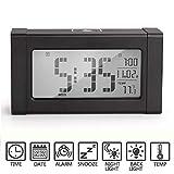 Despertador, Arespark Reloj Digital, Reloj Despertador Silencioso con 21 Melodías Polifónicas, Termómetro Calendario Pantalla Grande Luz de Noche Elegante Luz Suave Snooze, con Batería (Negro)