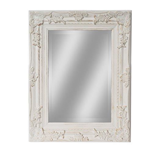 elbmöbel Spiegel 45 x 35cm Klein in Weiß Antik mit Patina Wandspiegel Barock aus Holz im...