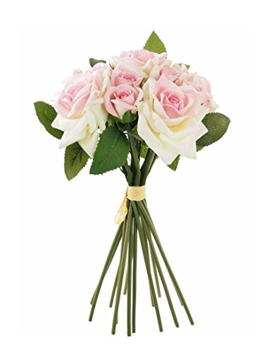 Supreme Silk Hand Tie Rose Bunch 28cm Wth 14 Stems Tied With Raffia - Dusty Pink Roses by Homestreet Flowers Pure Silk Floral Tie