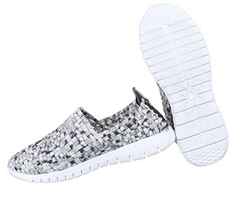 Slipper Damen Schwarz Halbschuhe Grau Schuhe EFwF8x7qS