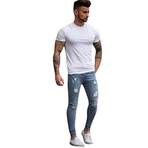 Price comparison product image Men PantsMen's Stretchy Ripped Skinny Biker Jeans Destroyed Taped Slim Fit Denim Pants (S,  Light Blue)