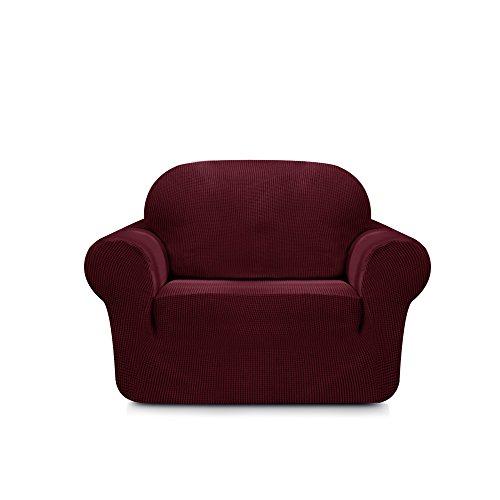 Subrtex Spandex Sofabezug Stretch Couchbezug Sesselbezug Elastischer Antirutsch Sofahusse in Verschiedenen Farben (1 Sitzer, Weinrot)