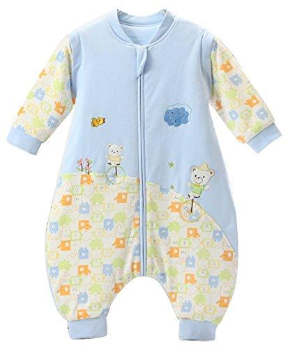 schlafsack baby Bär Blau winter mit Füßen,kleinkind schlafsack ganzjahres Baumwolle Junge Mädchen unisex Overall Schlafanzug.2.5tog. (6-18 Monate, Blau)