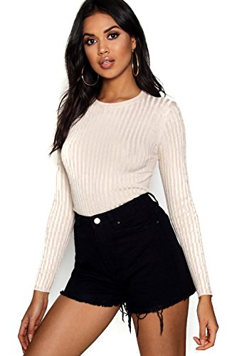 Damen Elsie Ribbed Crew Neck Top With 3/4 Sleeves - Ecru - L (3/4 Sleeve Cropped Cardigan)
