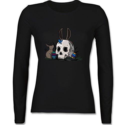 Ostern - Totenschädel Ostern - tailliertes Longsleeve / langärmeliges T-Shirt für Damen Schwarz