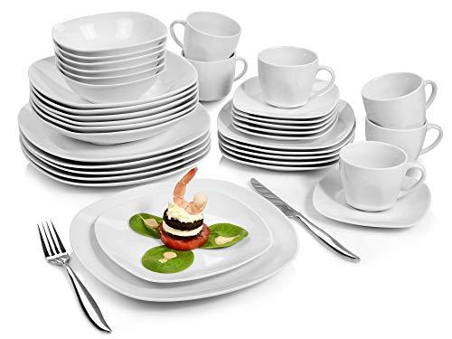 Sänger Geschirrservice 'Bilgola' aus Porzellan 36 teilig | Geschirrset beinhaltet Speise-, Suppen-, Dessertteller, Tassen (175 ml), passende Untersetzer sowie Schalen