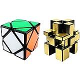 Mayatra's Combo Of 2 - Skewb Speed Cube Puzzle Black& Shengshou 3x3 Golden Mirror Cube ( 2pcs)