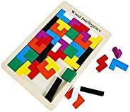 Wooden Tetris Puzzle 40 Pcs Brain Teasers Toy for Kids, Wood Tangram Jigsaw Brain Games educational Toys