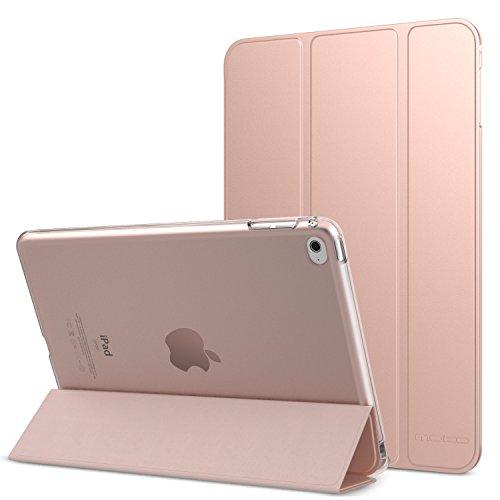 MoKo Schutzhülle für Apple iPad Mini 4–Schutzhülle mit Klappdeckel und Halterung Dünn und leicht Cache halbtransparent hinten für Tablet iPad Mini 47.9Zoll, Rotgold (mit Auto Wecker/Standby) (Rosa Auto-lautsprecher)